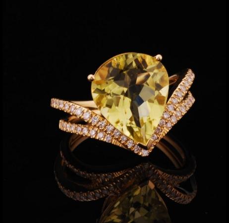 Lemon Quartz Lady's Ring